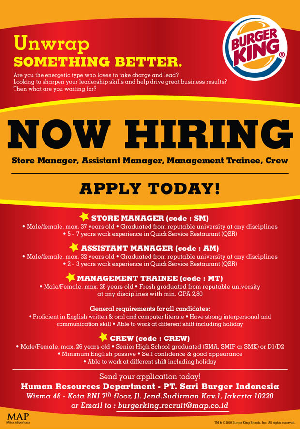 store manager  assistant manager  management trainee  crew